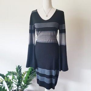 PrAna Sweater Dress Striped bodyCon V-Neck M